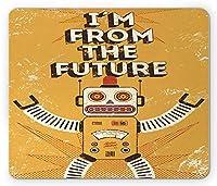 ヴィンテージマウスパッド、ロボットフィギュアフィクションの将来の見積もり電子ポップアートスタイルのイラストプリント、標準サイズの長方形滑り止めラバーマウスパッド、マスタード