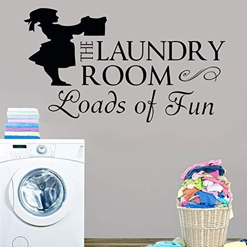 ASFGA Mädchen Wäsche Wandtattoo Wäsche Handwäsche Falten Waschküche Aufkleber Wäsche Wandtattoo Wäsche Bad Toilette 114x64cm