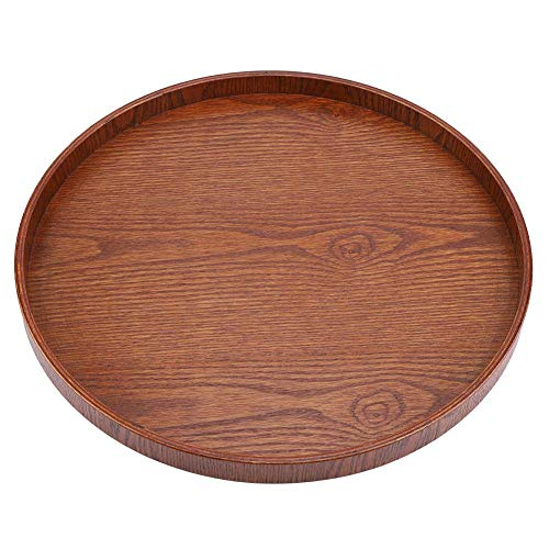 Bandeja para servir de madera, forma redonda Té de madera maciza Café Snack Comida Comidas Bandeja para servir Plato Bandejas de restaurante (37.5cm)(De madera)