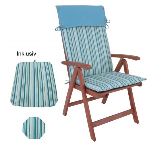 - Fauteuil de jardin en eucalyptus fSC-bois avec coussin et getreift set de table bleu ciel