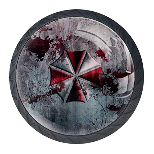 DEYYA Resident Evil Umbrella Corporation Crystal Glass Drawer Knob Pull Handle Ergonomic 30mm Circle Furniture Cabinet Handle for Kitchen Dresser Cupboard Wardrobe 4 Pcs