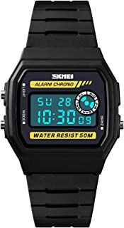 TONSHEN Womens Fashion Simple Multifunction LED Digital Watch for Girl 50M Waterproof Plastic Case with Rubber Band Outdoor Sport Watches Alarm Stopwatch (Yellow)