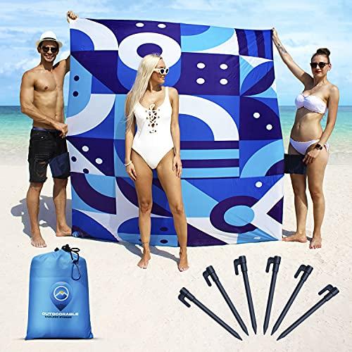 Beach Mat Sand Free Waterproof - Italian Design - Sandproof Beach Blanket 79' x 83' with 6 Stakes...