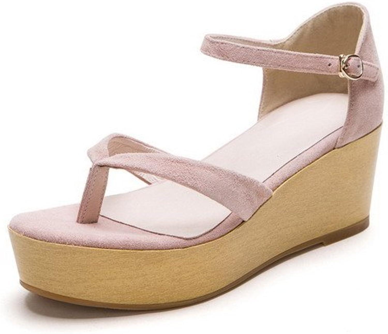 AmoonyFashion Women's Buckle Sheepskin Split-Toe Kitten-Heels Solid Sandals