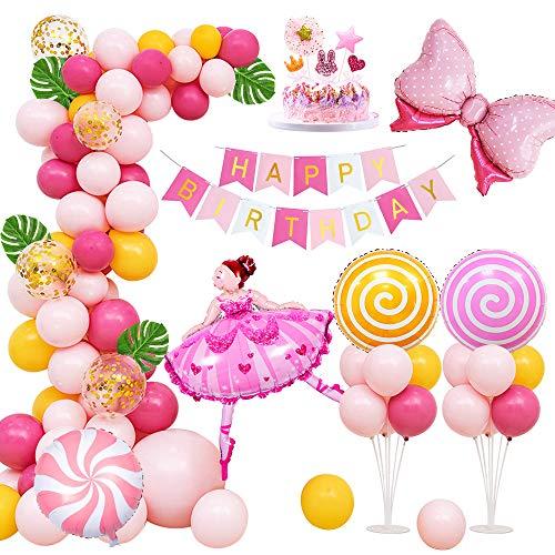 MMTX 1. Geburtstagsdeko Mädchen Rosa Deko Happy Birthday Decorations Girlande mit Ballettmädchen Bogen Helium Luftballons Geburtstag Kinder