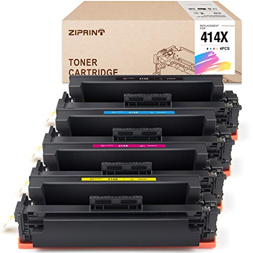 ZIPRINT Compatible Toner Cartridge NO Chip Replacement for HP 414 414X W2020X W2021X W2022X W2023X use for Color Laserjet Pro M454dw M454dn HP Color Laserjet Pro MFP M479fdw M479fdn Printer (4-Pack)
