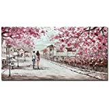 V-inspire Art,24x48 Inch Modern Abstract Oil Painting Romantic Elements Pink Memories Hand Painted Oil Painting Acrylic Canvas Wall Art living room Bedroom Decoration