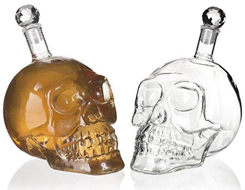 Grinscard Karaffe im Totenkopf Design - Transparent ca. 500 ml - Piraten Glaskaraffe für Hausbar und Party