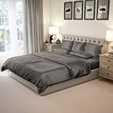Mulberry Park Silks - King Silk Sheet Set (15' Pocket) - Gunmetal - 22 Momme 100% Pure Mulberry Charmeuse Natural Bedding - Oeko-TEX Certified - Seamless