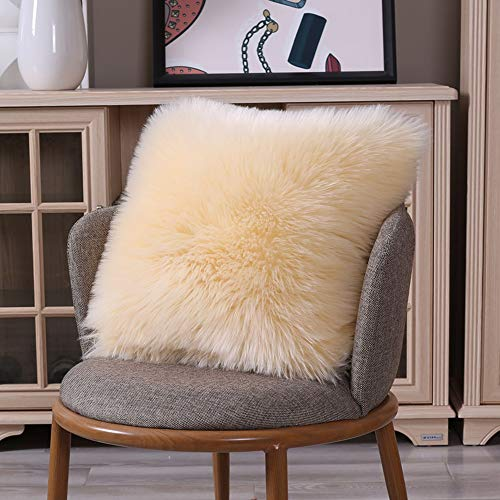 QYYL Sofa Throw Pillow, Fluffy Soft Decorative Pillow covers With zipper, non-slip washable, without fading, for Sofa Chair Couch/Bedroom (40x40cm,Beige)