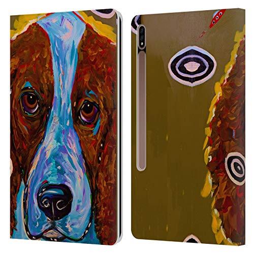 Head Case Designs Licenciado Oficialmente Mad Dog Art Gallery Setter inglés marrón Perros Carcasa de Cuero Tipo Libro Compatible con Galaxy Tab S7+ / Tab S7 Plus 5G