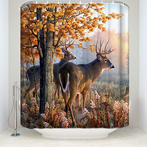 Custom Autumn Nature Wildlife Animal Deers Hunting Waterproof Fabric Bathroom Shower Curtain with Hooks Stall Size 36 x 72 inches