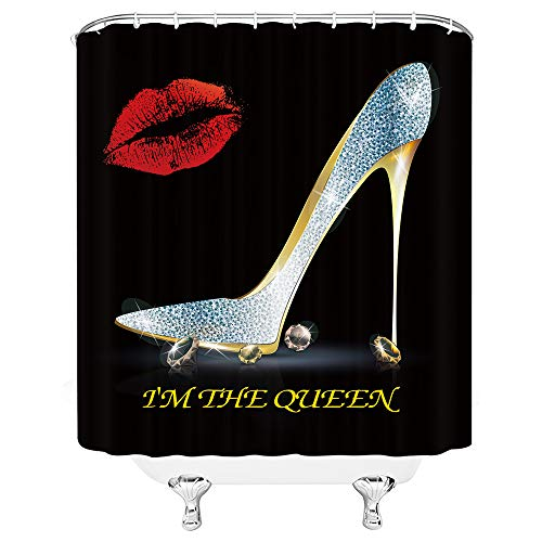 Xnichohe Lip Shower Curtain Sexy Woman Girl High Heels Red Lip Pearl I am The Queen Modern Fashion Decor Polyester Fabric Curtain with Hooks 70 x 70 Inch Bathroom Accessories Curtains Red Yellow