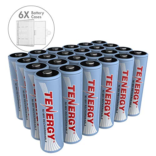 Tenergy NiMH AA, 1.2V AA, High Capacity 2500mAh 24 Pack Double A Cell, Bonus 6 Battery Cases