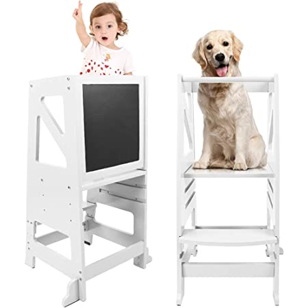 Kids Kitchen Step Stool, Dripex Wooden Learning Stool with Safety Rail & Chalkboard, Adjustable Counter Toddler Helper (White)
