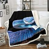 3D Snake Bedding Sets, Reptile Sherpa Fleece Blanket Throw Blanket, Wild Blue Snake Print Soft Blanket Warm Cozy Plush Blanket, Nature Animal Throw Blanket for All Seasons Bed Sofa Throw 50'x60'
