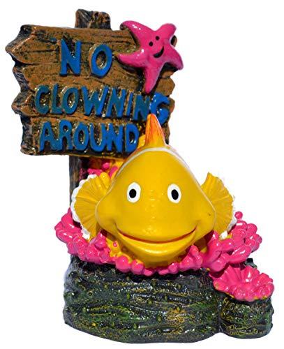 Supa No Fishing Sign, Clown Fish Aquarium/Fish Tank Ornament   Realistic Detail   Approx. 7.5cm(L) x 6.5cm(W) x 8cm(H).