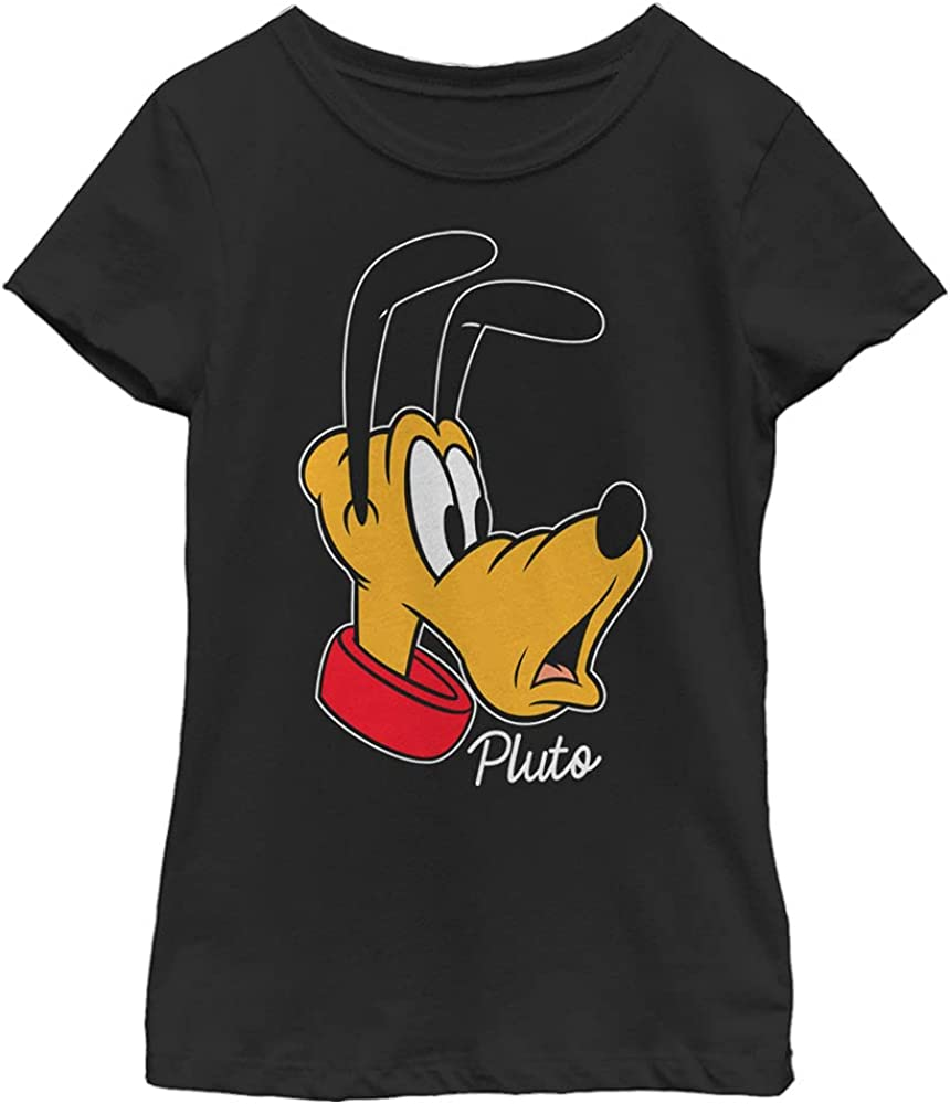 Disney Characters Pluto Big Face Girl's Solid Crew Tee