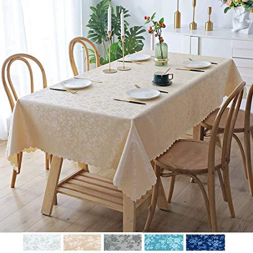 Homaxy Abwaschbar Tischdecke Wasserdicht PU Tischtuch Elegante Fleckschutz Tischwäsche Pflegeleicht Tafeldecke für Home Küche- 140 x 200 cm, Beige