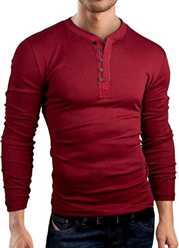 Grin&Bear Coupe Slim Contrast col à Bouton Shirt, Manches Longues, Bordeaux, XL, BH127