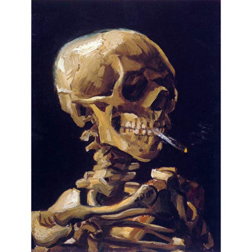 Bumblebeaver Vincent Van Gogh Skull with A Burning Cigarette Old Art Painting Print 12x16 inch 30x40cm Schädel ZIGARRE Farbe