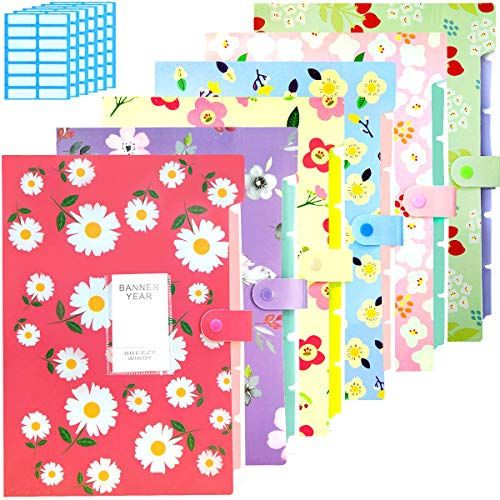 STUs Expanding File Folder - 6 Pack Accordian File Organizer with 5 Pockets Document Accordion Folder and 168 Pcs File Folder Labels for School and Office