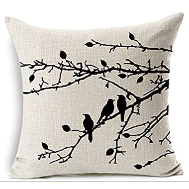 LYN Cotton Linen Square Throw Pillow Case Decorative Cushion Cover Pillowcase for Sofa 18 X 18  Lyn-82 (5)
