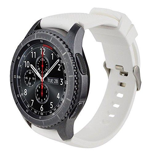 Correa 22mm Silicona S3 Banda Correas Brazalete de Pulsera para Galaxy Watch 46mm/ Gear S3 Frontier/Gear S3 Classic/Pebble Time/Ticwatch Pro/Pace Smartwatch Pulseras de Repuesto, Blanco