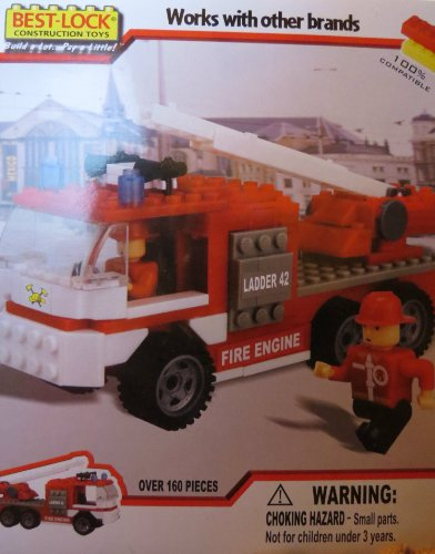 Best-Lock Fire Truck with 2 Figures Construction Toy