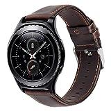 iBazal 20mm Cinturino Pelle Rilascio Rapido Cuoio Bracciale Compatibile Samsung Galaxy Watch 3 41mm/Galaxy Watch 42mm/Active 40mm/Gear S2 Classic/Sport/Huawei 2/Ticwatch 2/E/Vivoactive 3 - caffè