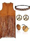 4 piece Women Hippie Costume Set Fringe Vest Faux Seude Tassels vest(XL)