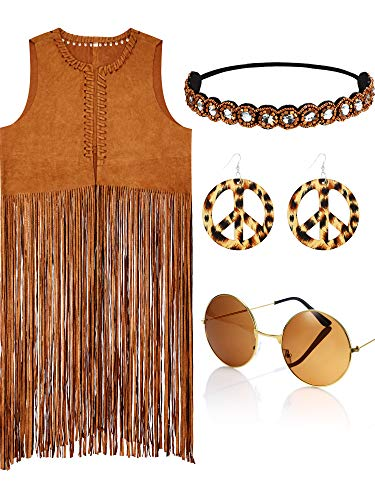 4 Piece Women Hippie Costume Set Fringe Vest Faux Seude Tassels Vest(XL)