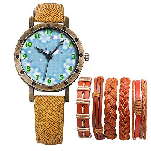 Meisjes Merk Retro Brons Vintage Lederen Band Dames Meisje Quartz Horloge Armband 6 Sets Abstract Bloemen 079.Blauwe Achtergrond, Bloemen, Vintage, Tapijt, Kaart