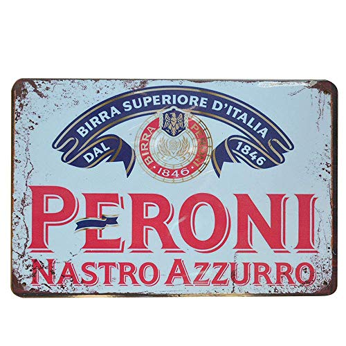 None Brand Peroni Nastro Azzurro Blechschild Retro Metall gemalt Kunst Poster Dekoration Warnung Plaque Bar Cafe Garage Party Spielzimmer