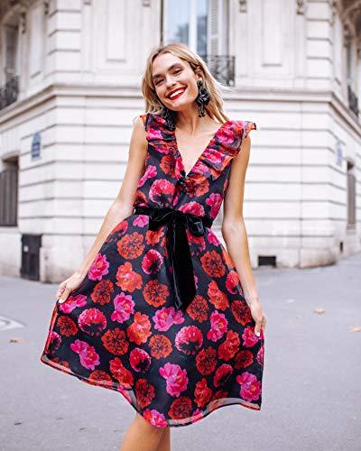 The Drop Vestido por la Rodilla con Estampado Floral, Escote de Pico Pronunciado con Volantes y Lazada a la Cintura por @officiallyquigley, XXS