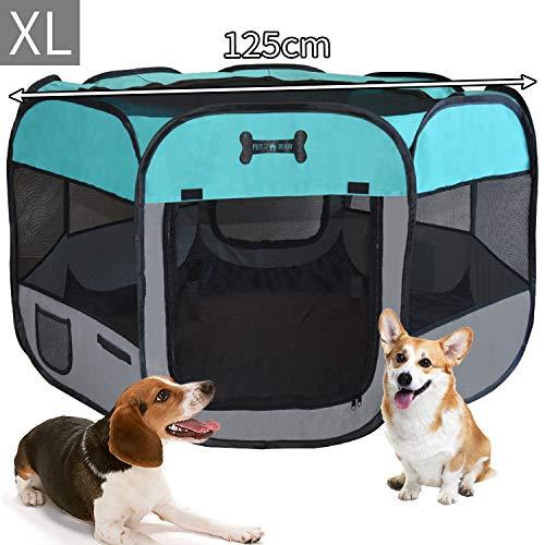 MC Star Oxford Pieghevole Box per Cani Impermeabile Grande Recinto per Animali, Cuccioli, Cane, Gatti, Porcellini d'India, per Interno o Esterno,125 x 64 cm(Verde)