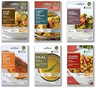 Jaswant's Kitchen Indian Spice Blends with Recipes - 6 Pack (Chicken Curry/Daal/Aloo Gobi/Channa Masala/ Fi...