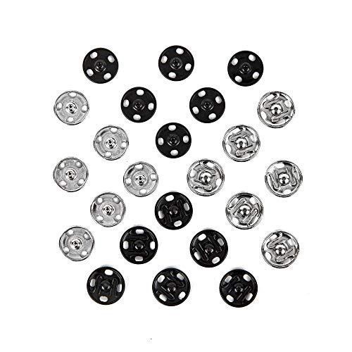 Samuay Snap Buttons for Sewing and Crafting 72 Sets in 2 Colors Black and Silver - Heavy Duty Metal Snaps for Leather Jackets, Jeans, Bags & Clothing - 10mm