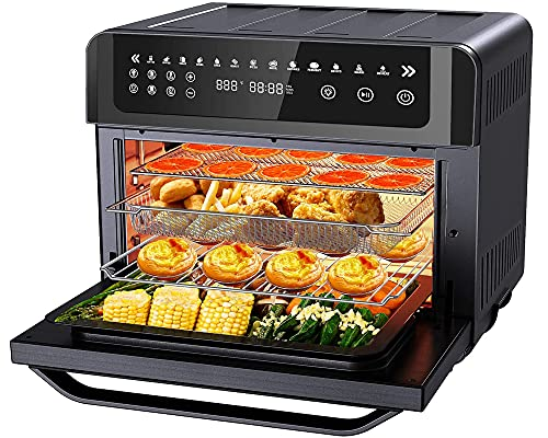 Gevi Air Fryer Toaster Oven Combo, Large Digital LED Screen Convection Oven with Rotisserie and Dehydrator, Extra Large Capacity Countertop Oven with Online Recipes