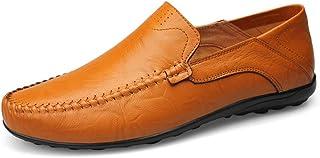 [MUMUWU] ビジネスシューズ 革 柔軟 クラシック シンプル 男性靴 軽量 通気 モカシン ビジネスシューズ (Color : Hollow Yellow, サイズ : 28.5 CM)