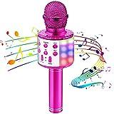 OALYGEI Microfono Karaoke Bluetooth, Microfono Bambini Portatile con Luce LED Multicolore, Karaoke Player con Altoparlante Compatibile con Dispositivi Android e iOS