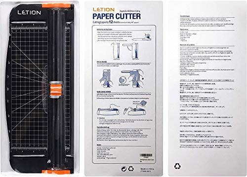 LETIONペーパーカッターA4対応12枚裁断機安全軽量カッター(黒)