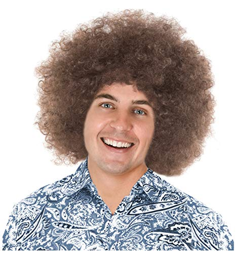 Brown Afro Wig Disco Afro Wig Men's Afro Wigs 70's Wig Motown