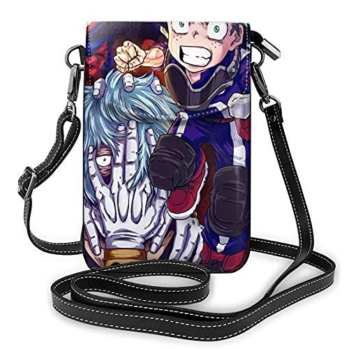 My Hero Academia - Bolso de piel ligera para teléfono celular, bolso de piel suave, bolso de teléfono celular, monedero duradero para teléfono celular, monedero pequeño con correa ajustable para mujer