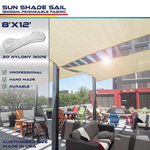 Windscreen4less 8' x 12' Rectangle Sun Shade Sail - Beige with White Strips Durable UV Shelter Canopy for Patio Outdoor Backyard - Custom, 8' x 12'