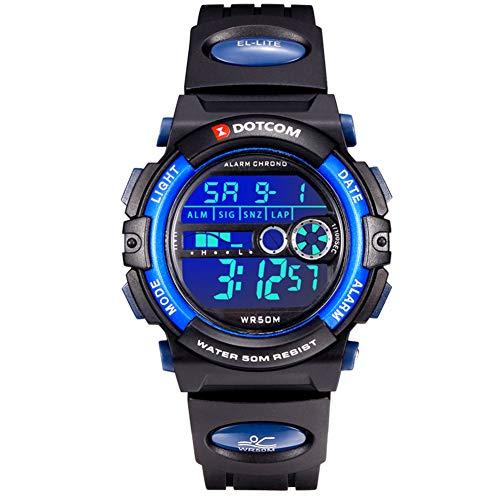 Herren Digitaluhr 50M wasserdichte Sport Laufen Schwimmen Junge Armbanduhr mit Zeit, Datum, Alarm, Hintergrundbeleuchtung, Stoppuhr Schwarz Blau