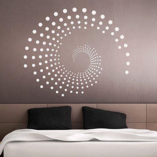 Grandora Wandtattoo Ornament Kreise Punkte I schwarz (BxH) 72 x 60 cm I Wohnzimmer Schlafzimmer Flur Wandaufkleber Wandsticker Aufkleber Sticker W941