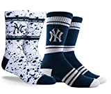 PKWY by Stance Unisex 2-Pack Yankees Crew Length Socks (Large (Men's 6-12/Women's 8-12), Spray & Stripe Crew)