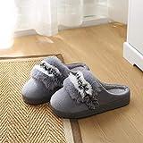 NIKAI Schafwolle Hausschuhe,Paar Baumwollpantoffeln Winter Männer und Frauen Dicke warme Pantoffeln Tasche sowie Plüsch Baumwollpantoffeln-B_36-37