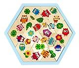 Hess Holzspielzeug 14901 - Mosaik-Legespiel aus Holz in sechseckiger Form mit 24 Teilen, Serie Eulen, für Kinder ab 3 Jahren, handgefertigt, als Geschenk zum Geburtstag, Weihnachten oder Ostern